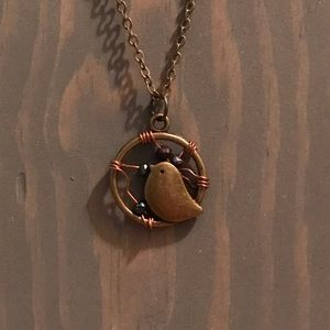 Jewelry - Handmade copper bird necklace.